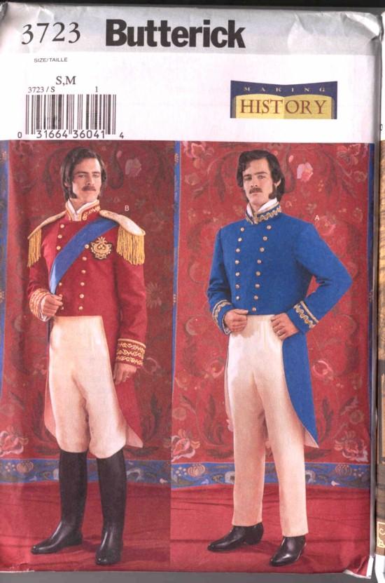 Butterick Costume Pattern History Civil War Uniform Red Coat #3723
