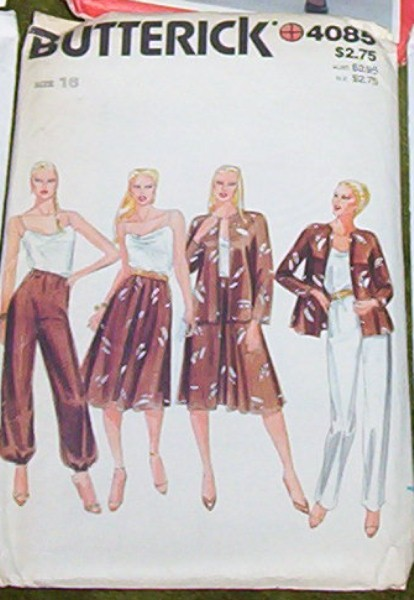 Butterick Pattern #4085 Misses Jacket Camisole, Skirt and Pants Pattern
