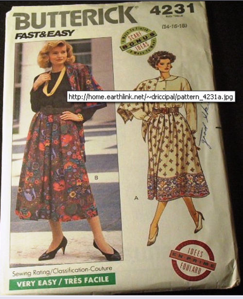 Butterick Pattern #4231 Fast and Easy Couture Skirt and Scarf
