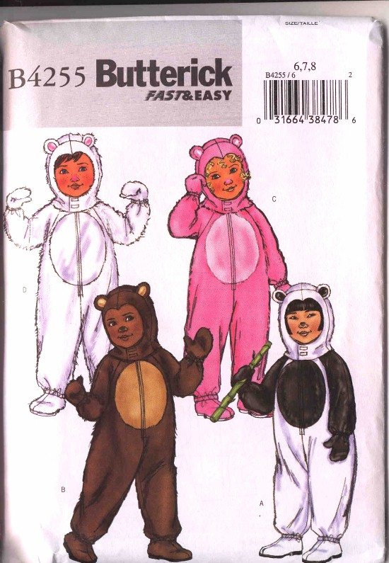 Butterick Childs Bear Halloween Costume Pattern #4255