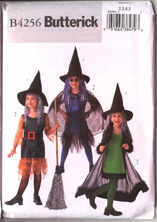 Butterick Childs Halloween Witch Costume Pattern #4256
