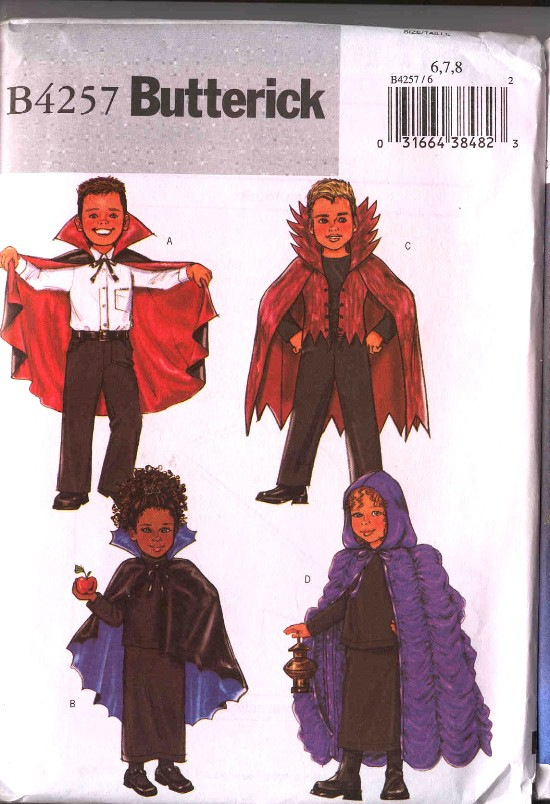 Butterick Halloween Capes Costume Pattern #4257
