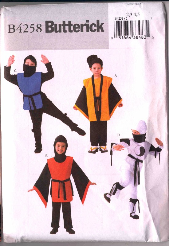 Butterick Oriental Warriors Ninja Halloween Costume Pattern #4258