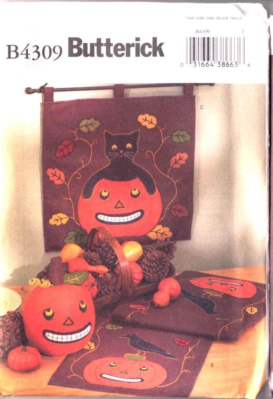 Butterick Halloween Craft Pumpkin Black Cat Pattern #4309