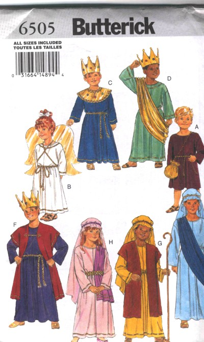 Butterick Christmas Character Costume Patterns Angel King Wise Men #6505