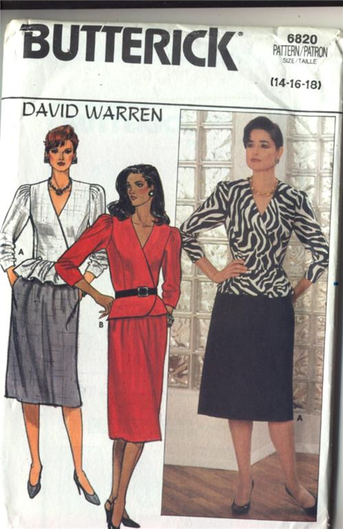 Butterick Pattern #6820 David Warren Misses top & skirt (suit)