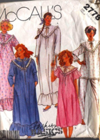 McCalls Women's Plus Size Robe Nightgown and Pajamas Pattern #2778