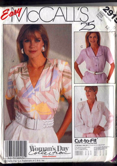 McCalls Woman's Day Collection Blouse Pattern #2915