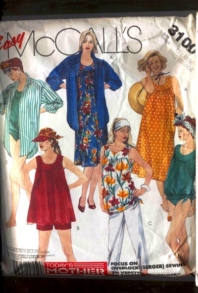 McCall's Maternity Dress or Top, Two piece Bathing Suit, Shirt, Pants &amp; Shorts Pattern #3100