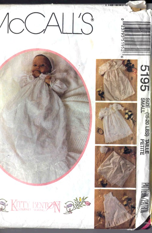 McCall's Kitty Benton Gourmet Sewing Infant's Christening Coat, Cape, Gown, Slip, Bonnet #5195