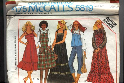 McCalls Boho Hippie style Jumper Dress and Top Pattern #5819