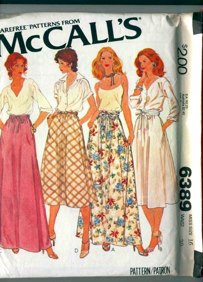 McCalls Set of Skirts Pattern #6389