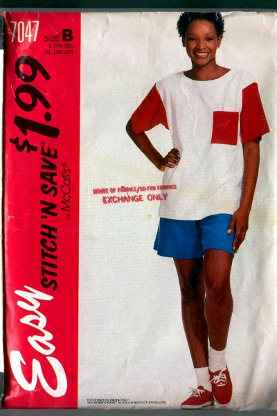 McCalls Stitch N Save Misses T-Shirt and Shorts Pattern #7047