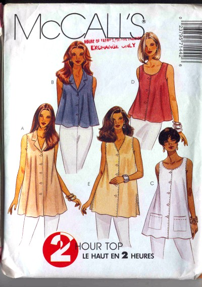McCalls Misses Tops in two lengths Pattern #7144