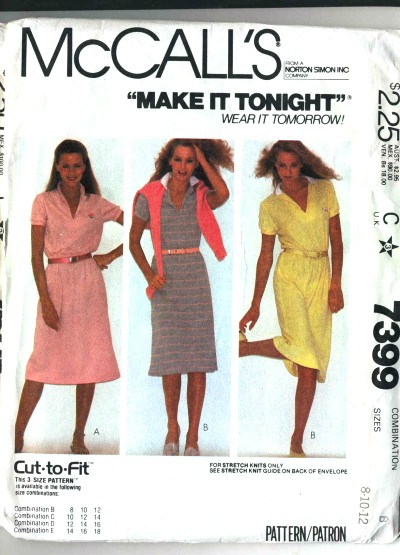 McCalls Cut-to-Fit Stretch Knit Dress Pattern #7399