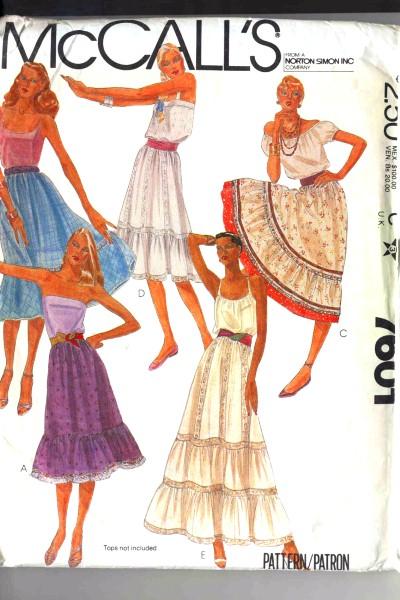 McCalls Boho Style Ruffled Skirt Pattern #7601