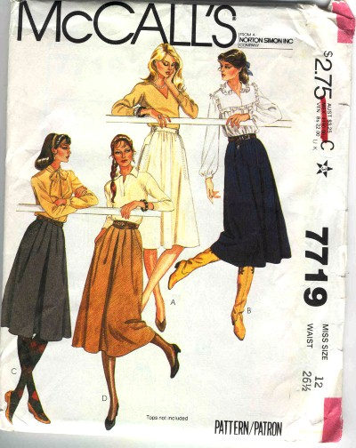 McCalls Flared and Gathered Skirt Pattern #7719