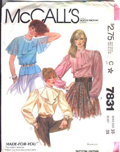 McCalls Silky Sexy Womens Blouse Pattern #7831
