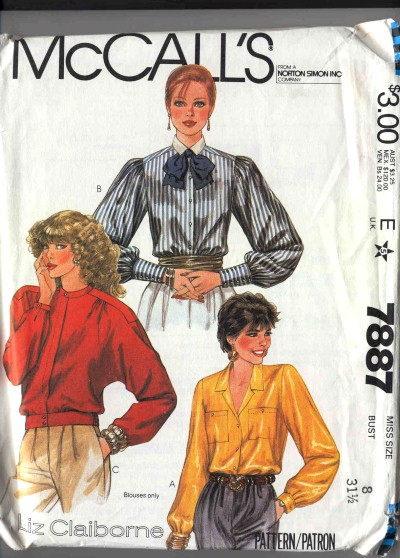 McCalls Blouse Pattern #7887