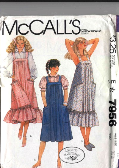 McCalls Laura Ashley Boho Style Jumper Sundress Ruffled Blouse Pattern #7956