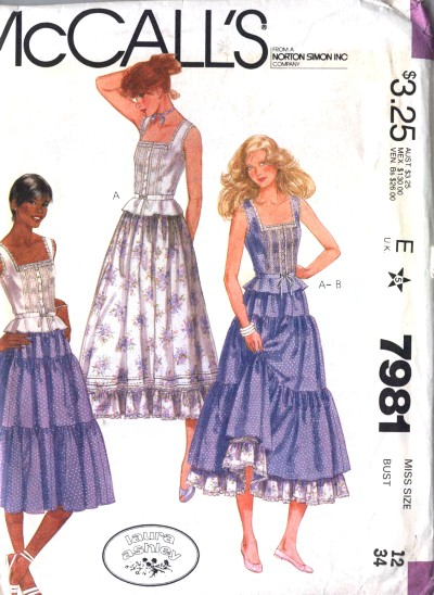 McCalls Laura Ashley Boho Style Ruffled Skirt and Petticoat Style Top Pattern #7981