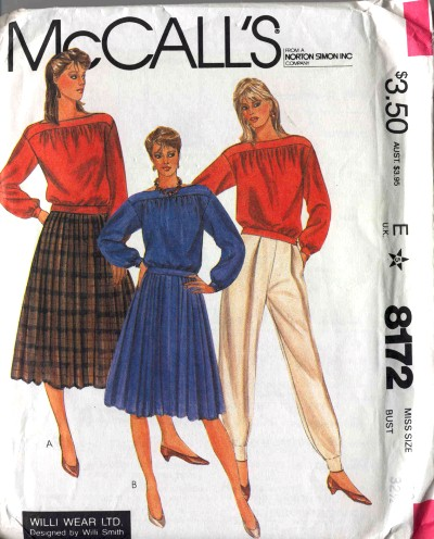 McCalls Willi Smith/Willi Wear Ltd Top Pleated Skirt and Pants Pattern #8172