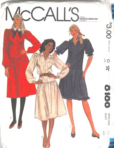 McCalls Misses Dress Pattern #8186
