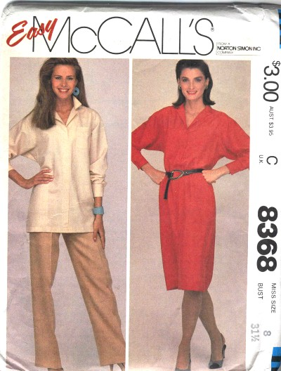 McCalls Misses Dress or Tunic and Pants Pattern #8368