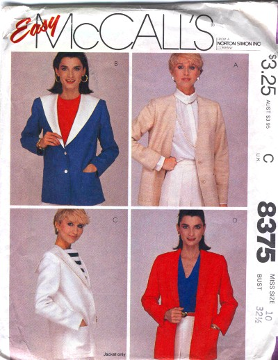 McCalls Misses Jacket Pattern #8375