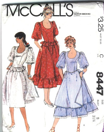 McCalls Misses and Junior Petite Top Skirt or Two-piece Dress Pattern #8447
