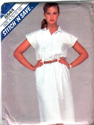 McCalls Misses Shirt Dress Pattern #8544