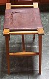 Antique Leather Stool Bench